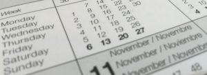 Calendar days close-up
