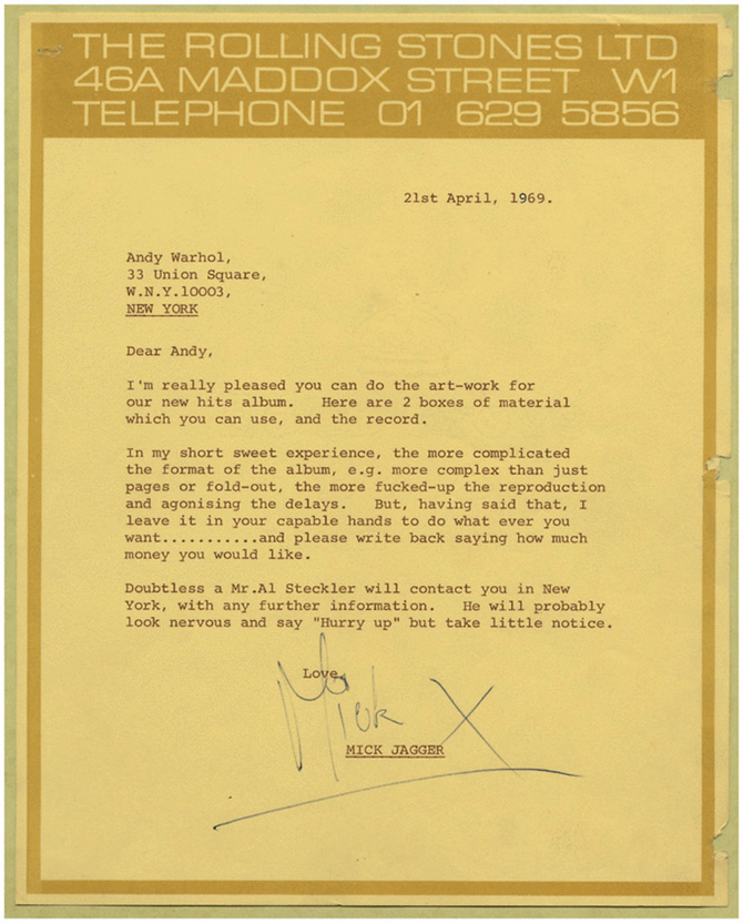 Mick Jagger brief to Andy Warhol