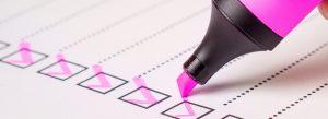 Pink pen checklist ticks