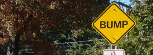 Speed bump road sign - copywriting punctuation