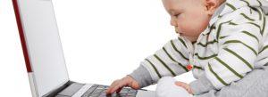 Baby at laptop - editing