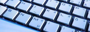 Computer keyboard close up - copywriting and punctuation