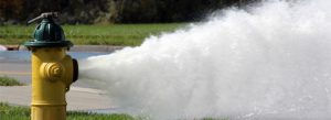 Fire hydrant gushing water