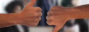 Copywriting idea generation thumbs up thumbs down