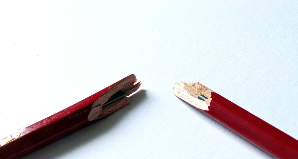 Pencil snapped in half