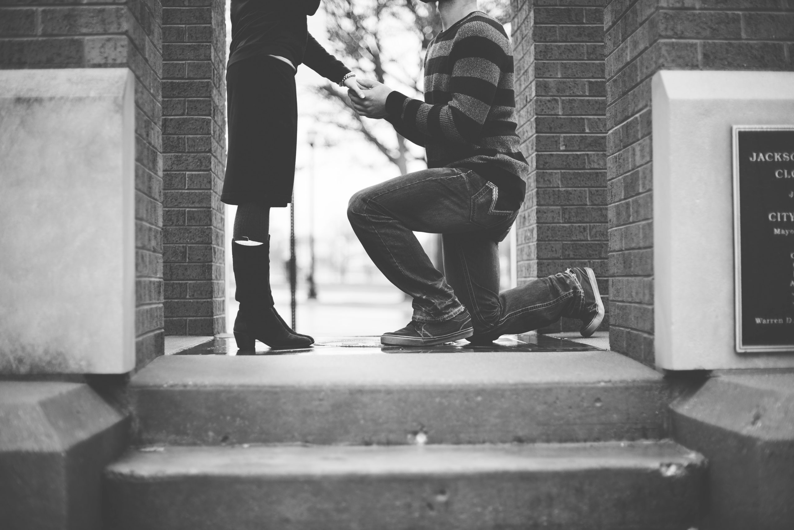 Man on knee proposing