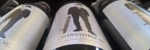 Invisible Man bottle of wine label trimmed