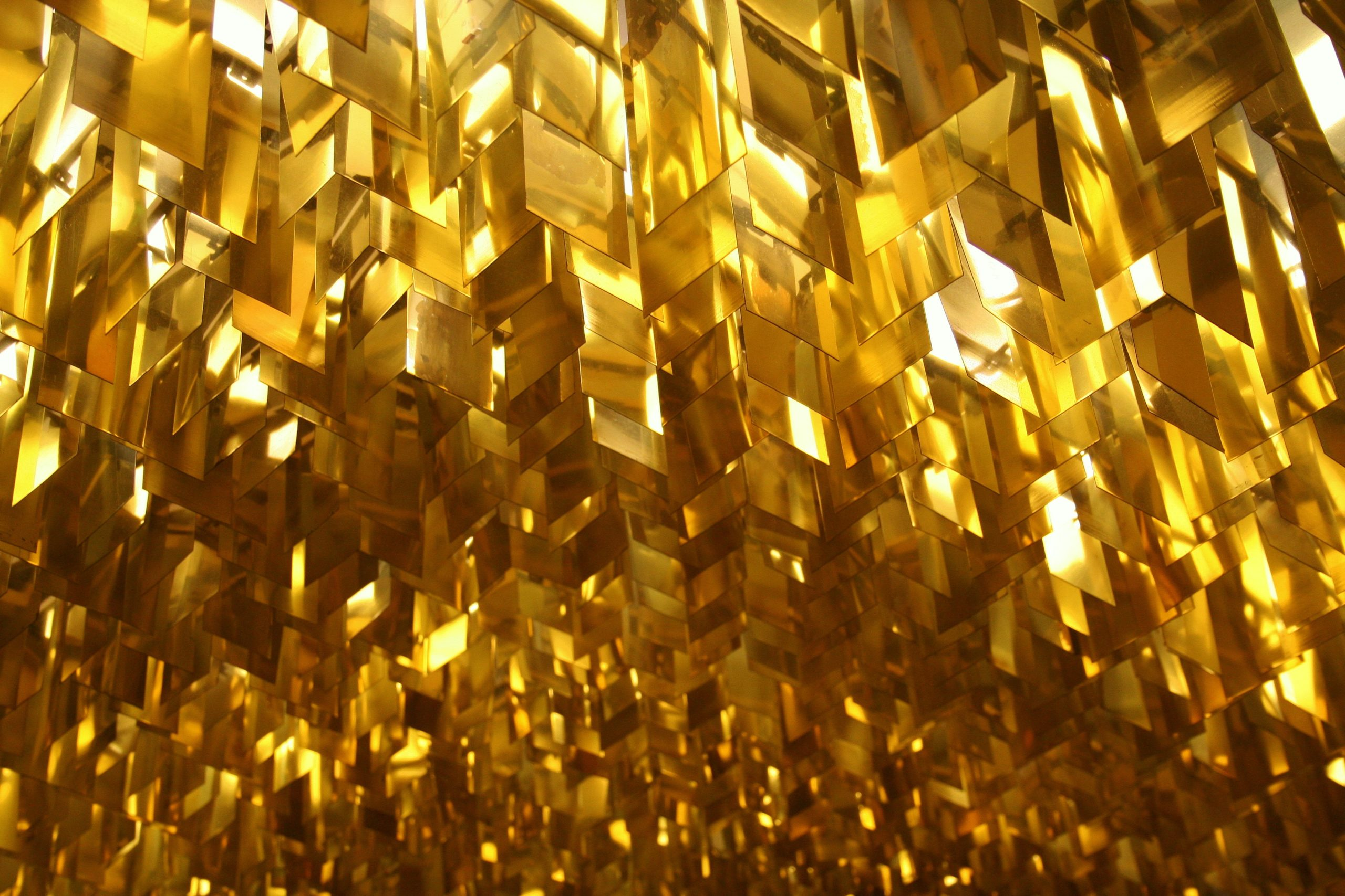 Gold foil hanging from the ceiling