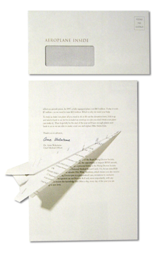 Royal Doctor Flying Service direct mail piece: aeroplane enclosed